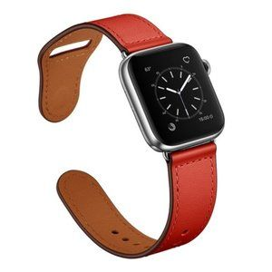 NEW RED Genuine Leather Band For Apple Watch